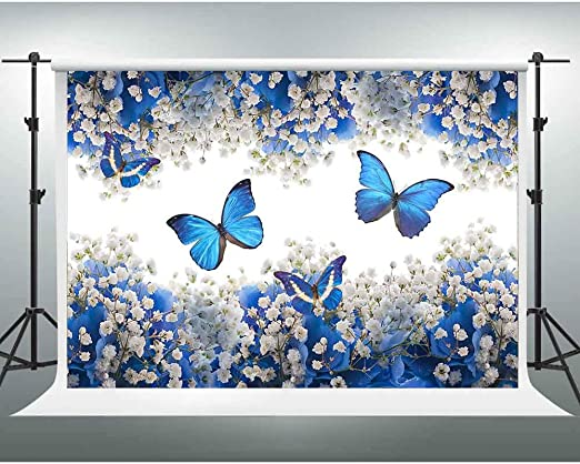 7x10 FT Butterfly Vinyl Photography Backdrop,Pastel Colored Foliage Background with Spring Bugs with Ornate Paisley Motifs Background for Baby Shower Bridal Wedding Studio Photography Pictures