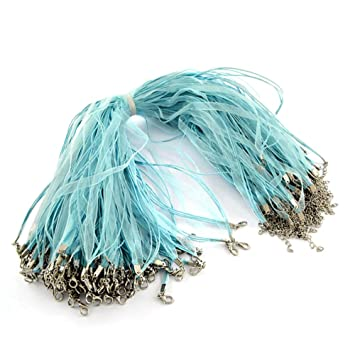 17.7 ARRICRAFT 100 Strands Black Multi-Strand Necklace Cord Organza Ribbon Zinc Alloy Lobster Claw Clasps Iron Chains for Jewelry Making