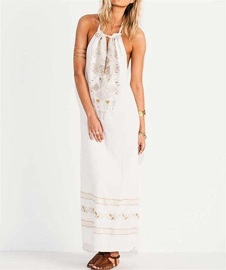 Amazon.com: Paule Trevelyan NEW estilo Europa bordado longo backless vestido de festa vestidos de verão elegantes das mulheres hobo cor branca maxi vestido ...