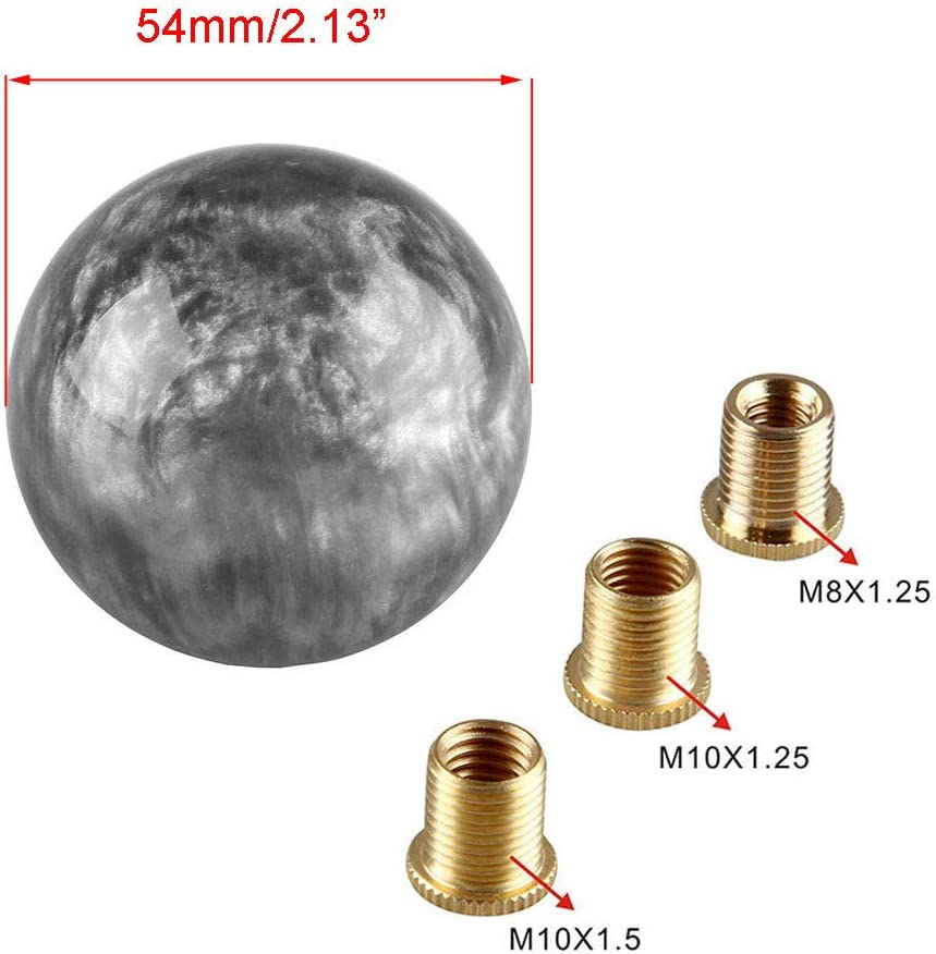 Pursuestar Gray Nebula Cloud Round Shift Knob for Both Manual or Automatic Fit for Honda Toyota Mazda Nissan Acura 5-Speed 6-Speed