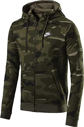 6ceacc4cf NIKE Sportswear Club Fleece Men's Full-Zip Camo Hoodie (Cargo Khaki/White,