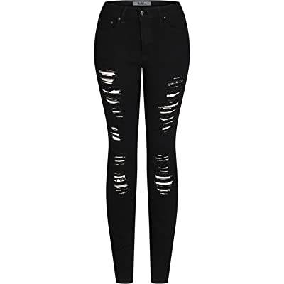 2LUV Women's Trendy Colored Distressed Skinny Jeans at Women's Jeans store
