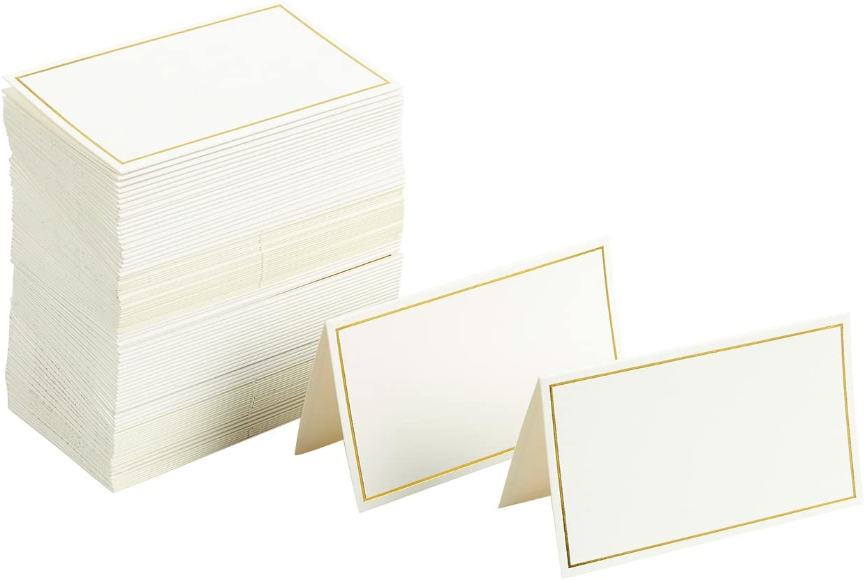 Pack of 100 Place Cards - Small Tent Cards with Gold Foil Border - Perfect for Weddings, Banquets, Events, 2 x 3.5 Inches: Home & Kitchen
