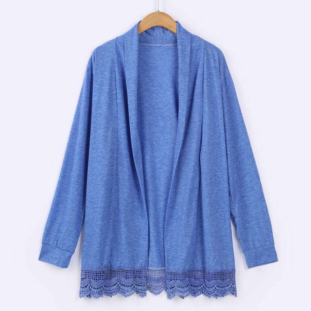 Kangma Women Kimono Cardigan Lace Tops Long Sleeve Open Front Cardigan Coat