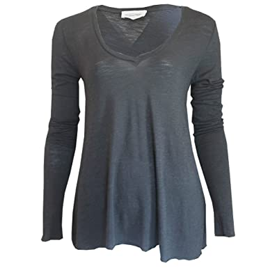 bda088fa10 American Vintage pour Femme Jacksonville T-Shirt à Manches Longues à col V  en Carbone