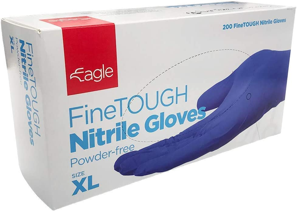 Eagle Protect FineTough Strong Lightweight Superior Tactile Eco Friendly FDA Compliant Food Handling Powder Free Textured Fingertip Indigo Color Disposable Nitrile Gloves Box of 200 (X-Large)