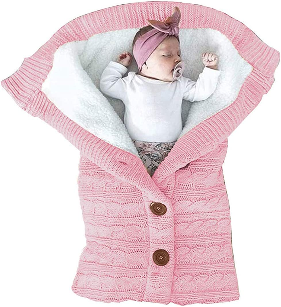 Thick Baby Kids Toddler Knit Soft Warm Fleece Blanket Swaddle Sleeping Bag Sleep Sack Stroller Unisex Wrap for Boys Girls Amoboo Newborn Baby Swaddle Blanket