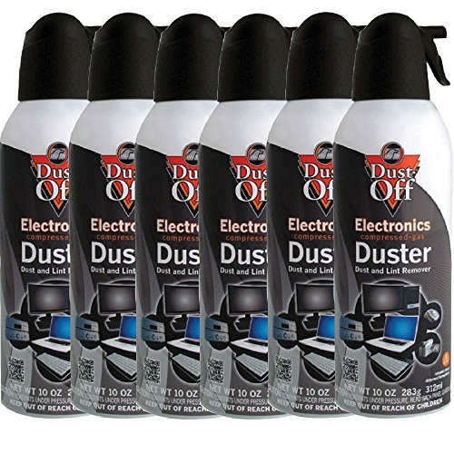 6pk Dust Off Compressed Air Computer TV Gas Cans Duster 10oz Laptop Keyboard -
