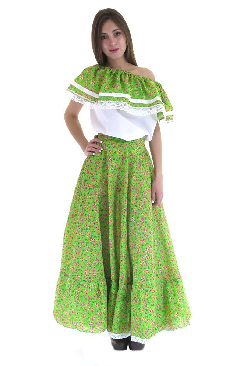 Women's Mexican Adelita Green Floral Poplin Blouse and Skirt Set - DeluxeAdultCostumes.com