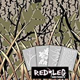 Redleg Camo 912KIT 4 Piece grass wetland duck camouflage stencil kit 12''x9''