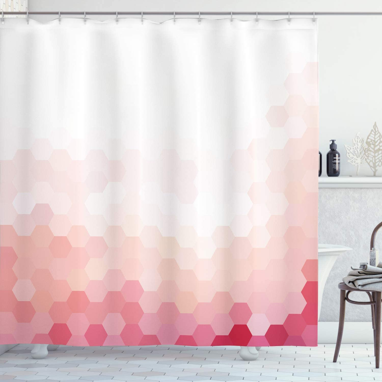 Ambesonne Pale Pink Shower Curtain, Gradient Toned Geometric Digital Abstract Hexagon Modern Display, Cloth Fabric Bathroom Decor Set with Hooks, 70
