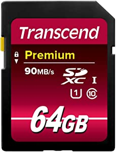 Transcend 64GB SDXC Class 10 Uhs-1 Flash Memory Card Up to 60MB/S (TS64GSDU1)