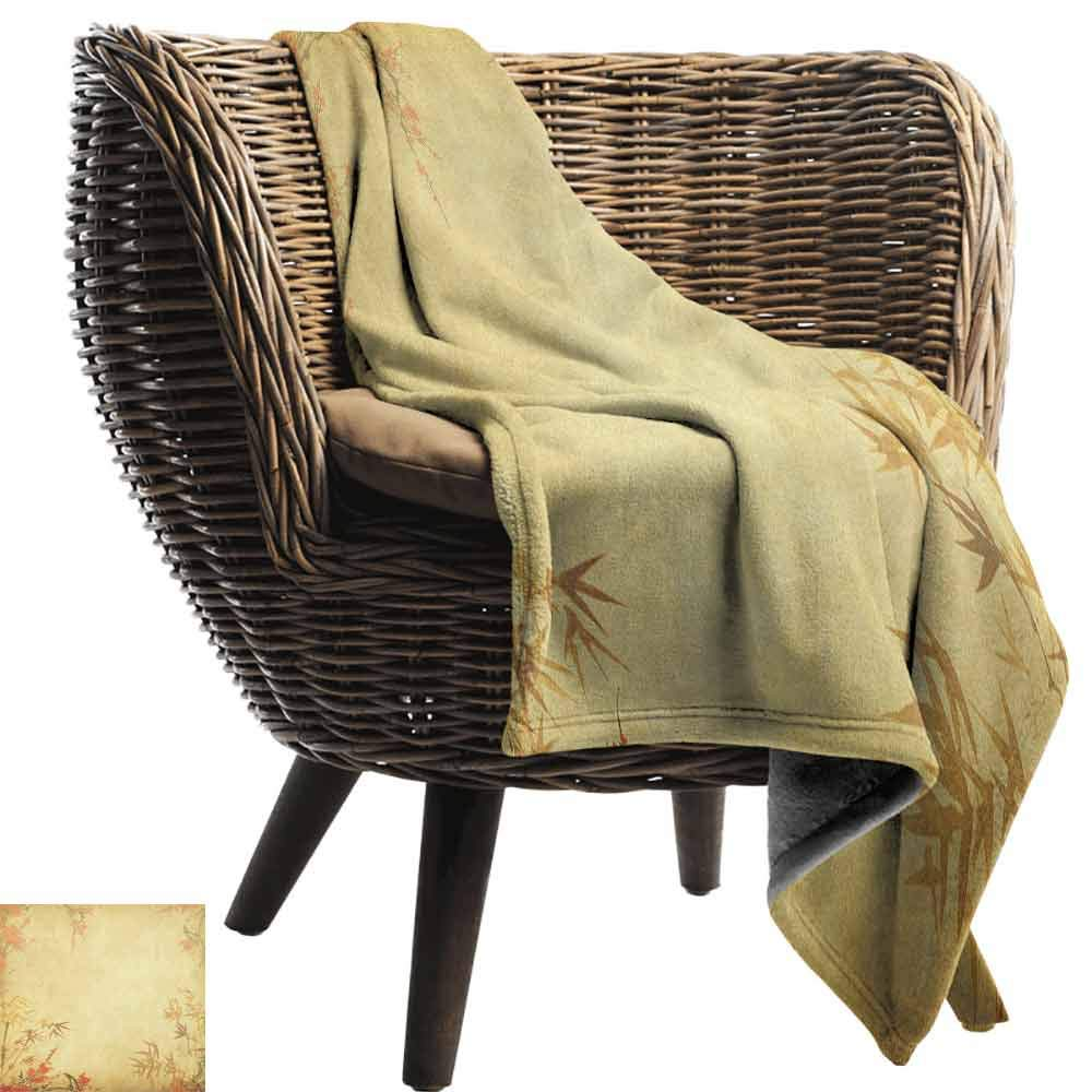 Bamboo Picnic Blanket,Bamboo Stems and Blooming Flower Antique Grunge Background Oriental Artwork Flannel Blankets Super Soft Warm Thick Blanket for Home,50'' Wx70 L Mustard Vermillion by Custom&blanket (Image #2)