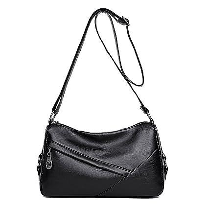 16227b3e051f Amazon.com: GMYANDJB Women's Bags PU Shoulder Bag Zipper Black Red ...