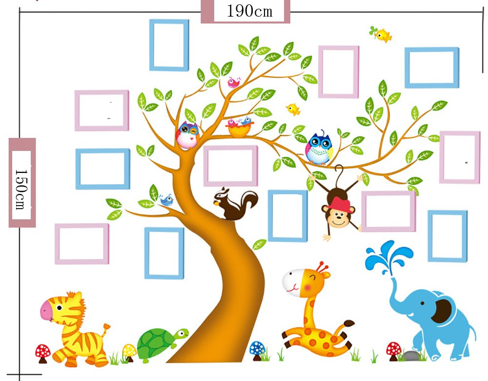 TIANTA- 12 Box Frame Solid Wood Frame Wall Kids Room Kindergarten Decorated Photo Wall Creative Baby Photo Wall Stickers adorn ( Color : #4 )