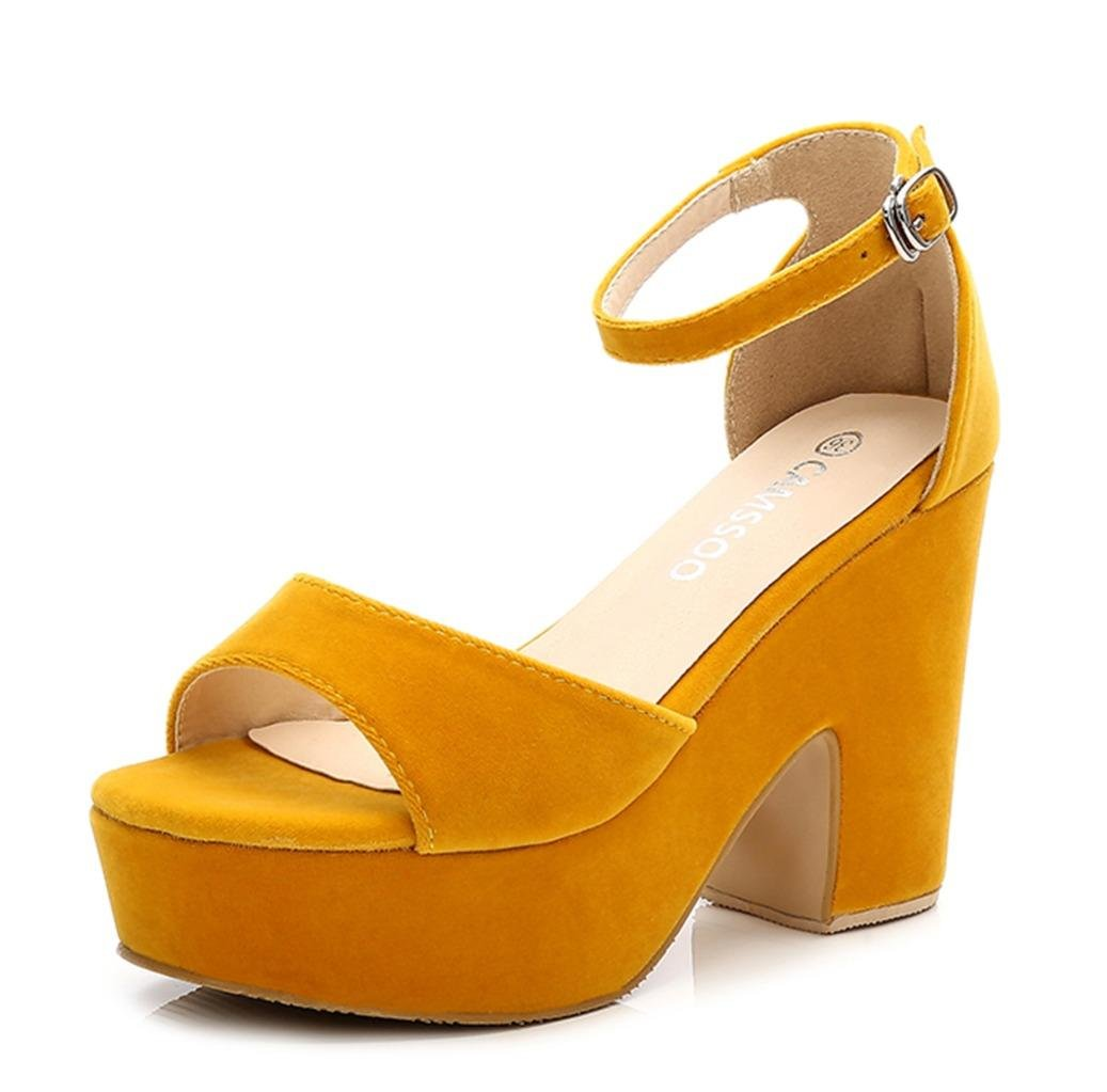 CAMSSOO Women's Solid Color Peep Toe Ankle Strap High Heels Sandals Chunk Heel Wedged Shoes Yellow Velveteen US9 EUR41