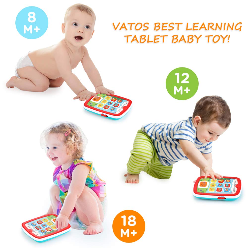 Toddler Learning Tablet for 1 Year Old, VATOS Baby Ipad for 6M -12M -18M+ with Music & Light, Travel Toy Tablet with Easy ABC Toy, Numbers & Color   My First Learning Tablet by VATOS (Image #4)