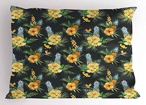 Ambesonne Hawaii Pillow Sham, Tropical Flowers Blooming Frangipani Plumeria Botanical Bouquet Pineapple Fruit, Decorative Standard Queen Size Printed Pillowcase, 30 X 20 inches, Multicolor by Ambesonne