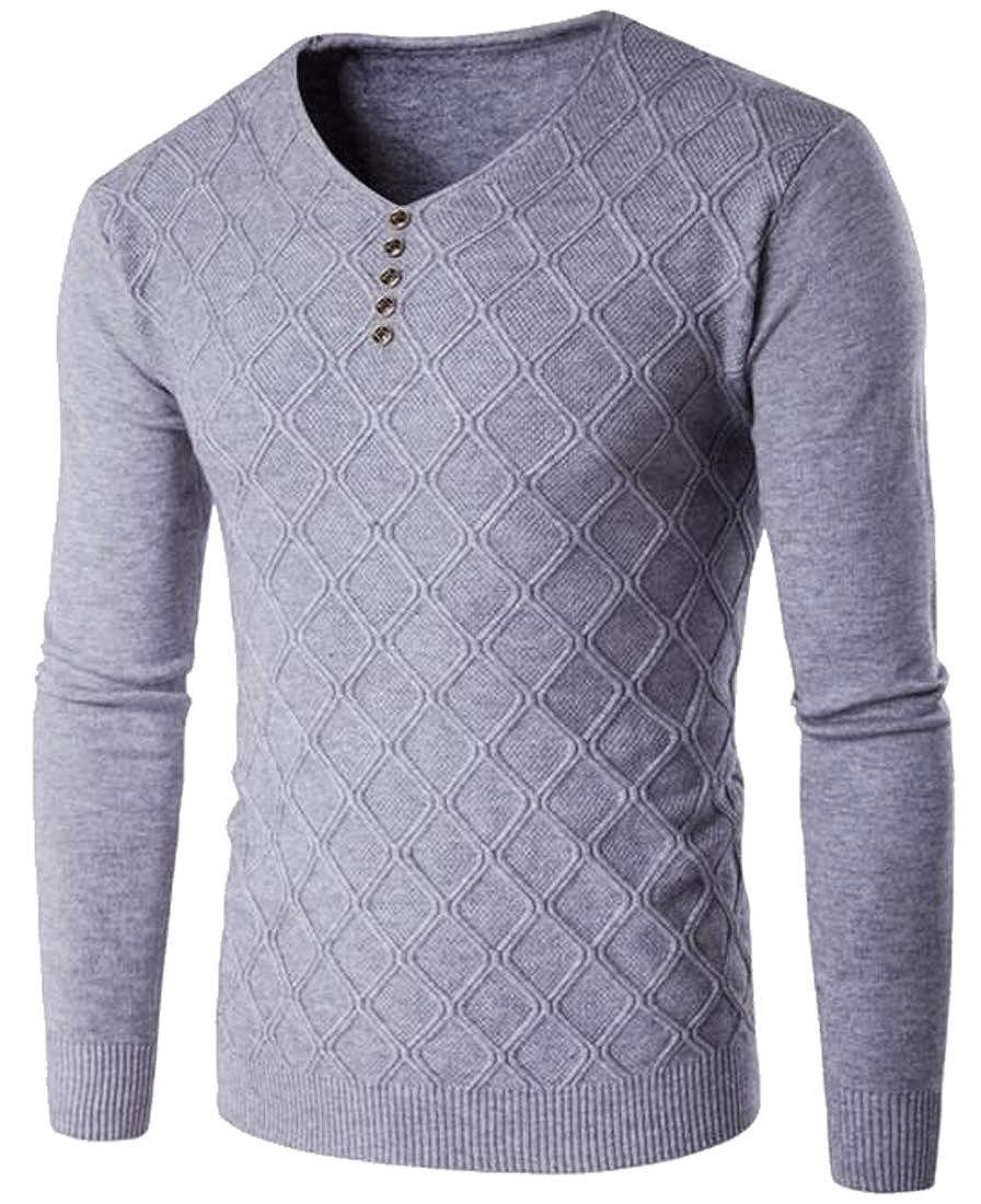 ARTFFEL Mens Long Sleeve Casual V-Neck Plain Knit Pullover Sweater Jumper Top
