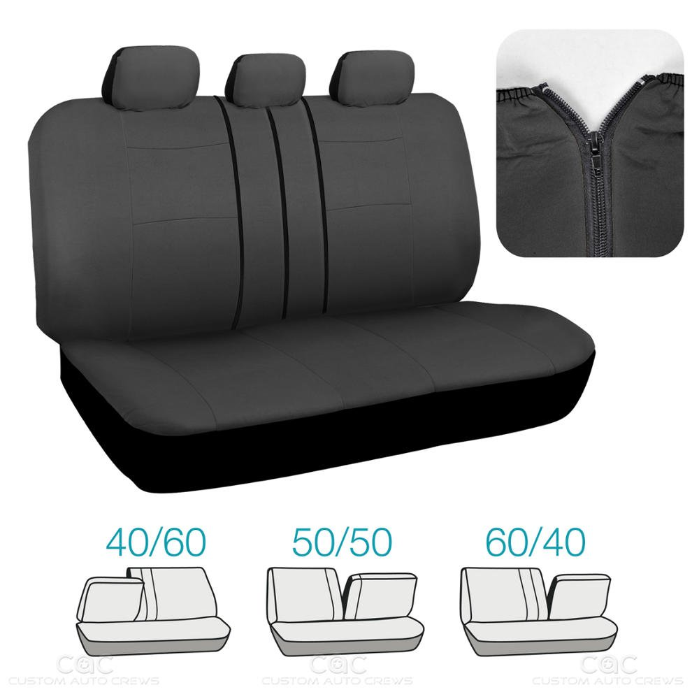 Split Option Bench 5 Headrests Front /& Rear Bench OS-309-AC Sleek /& Stylish BDK Charcoal Black Car Seat Covers Full 9pc Set