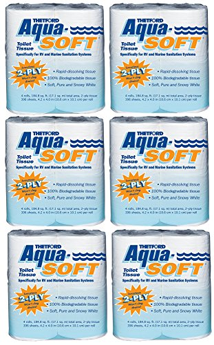[Thetford 03300 Aqua-Soft Toilet Tissue 2-Ply / 4-Pack Quantity 6] (Retreat Paper)