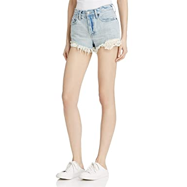 0ba7b3dc796 Free People New Women's Daisy Chain Lace Short Cotton Stretch Denim ...