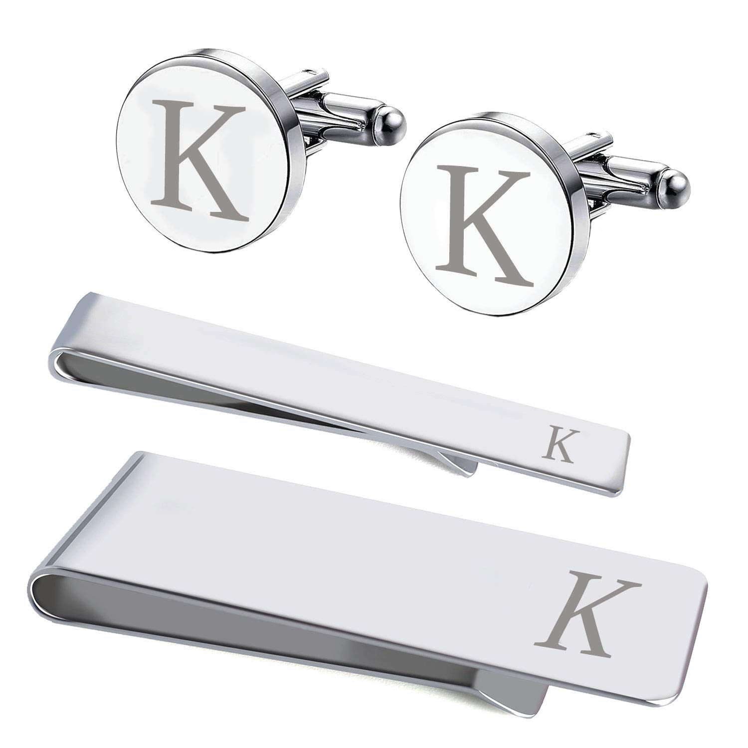 BodyJ4You 4PC Cufflinks Tie Bar Money Clip Button Shirt Personalized Initials Letter K Gift Set