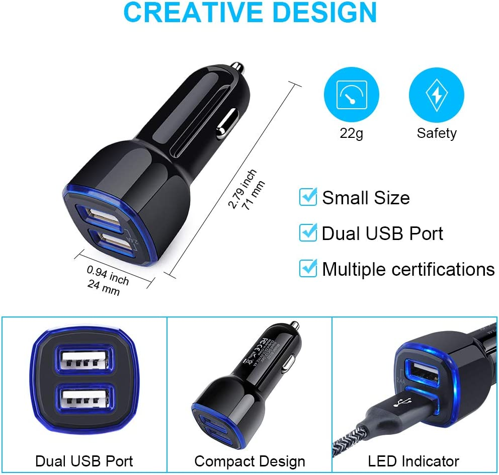 4.8A Dual USB Port Rapid Charging Car Charger with 2-Pack USB Type C Fast Charging Cable Compatible Samsung Galaxy A20E A50 A70 A80 S10 S9 Moto G7 Power//G6//X4//Z4//Z3 Car Charger Adapter Note 10+//9//8