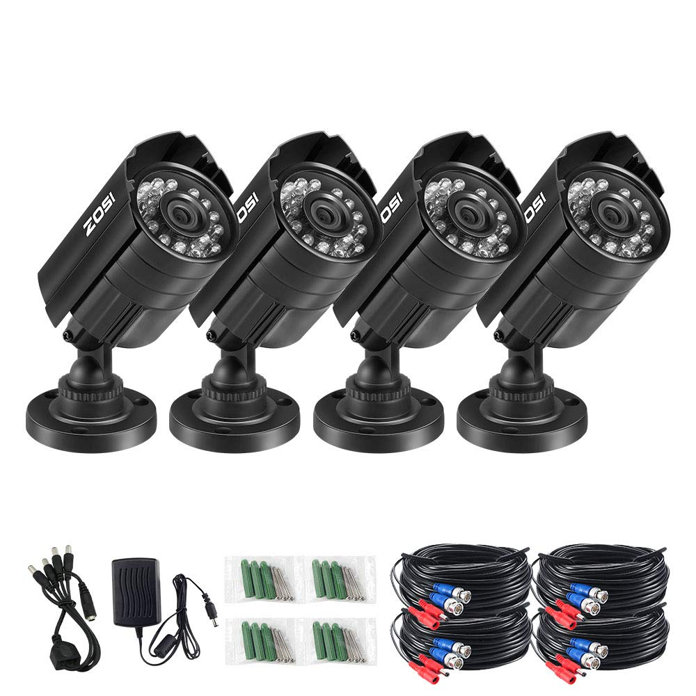 ZOSI 4PK 1280TVL 4-in-1 HD TVI/CVI/AHD/CVBS Security Camera 3.6mm Lens 24 IR-LEDs CCTV Camera Home Security Day/Night Waterproof Camera for 960H/ 720P / 1080N / 1080P Analog DVR Systems by ZOSI