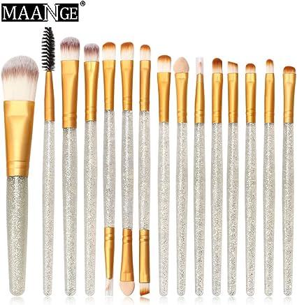 Brillo de maquillaje Juego de brochas de maquillaje Kit de artículos de tocador Juego de cepillos brillantes 15 piezas: Amazon.es: Belleza
