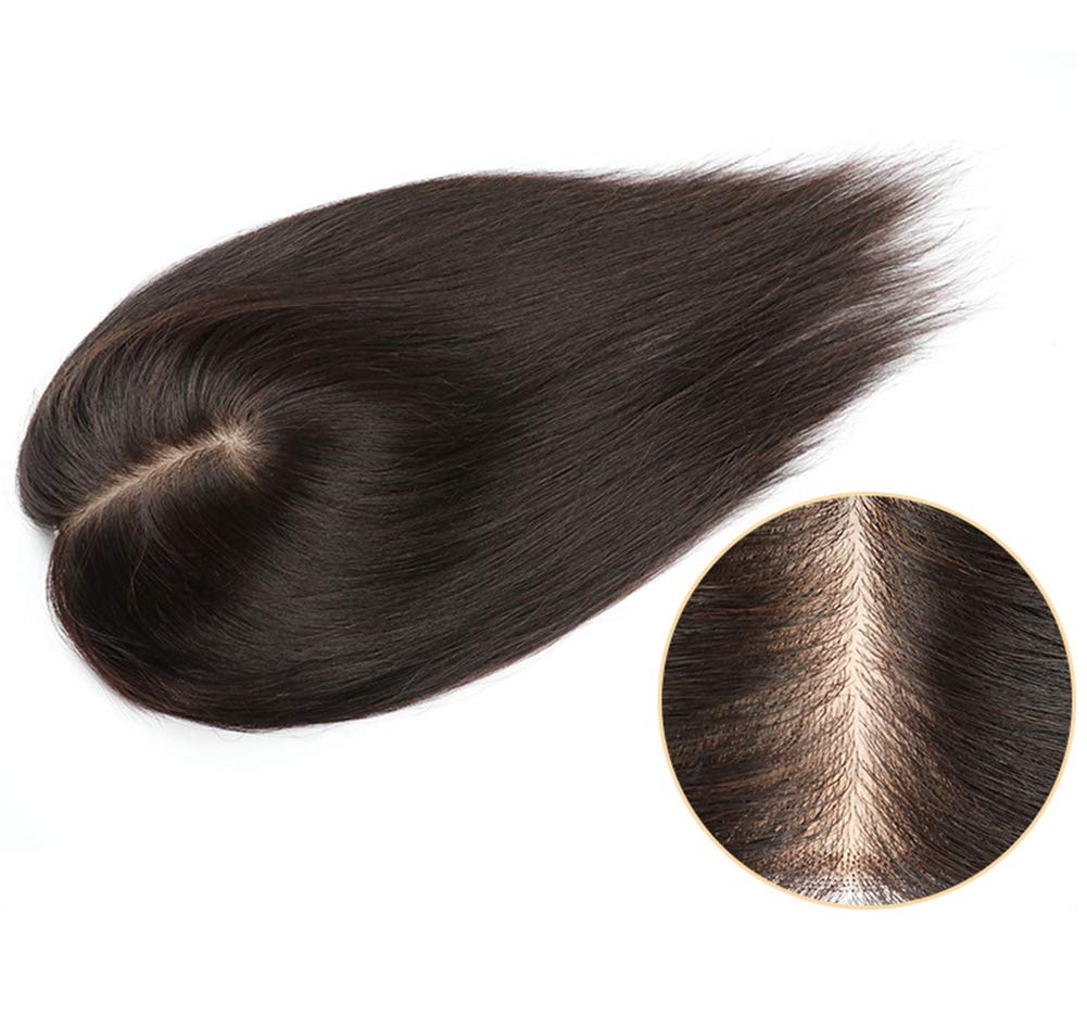 100% Real Human Hair Crown Topper with Clips, 5.5''x 6.3'' Free Parting Silk Base Top Hairpieces for Women with Thinning Hair, 14'' Dark Brown by Susanki (Image #3)