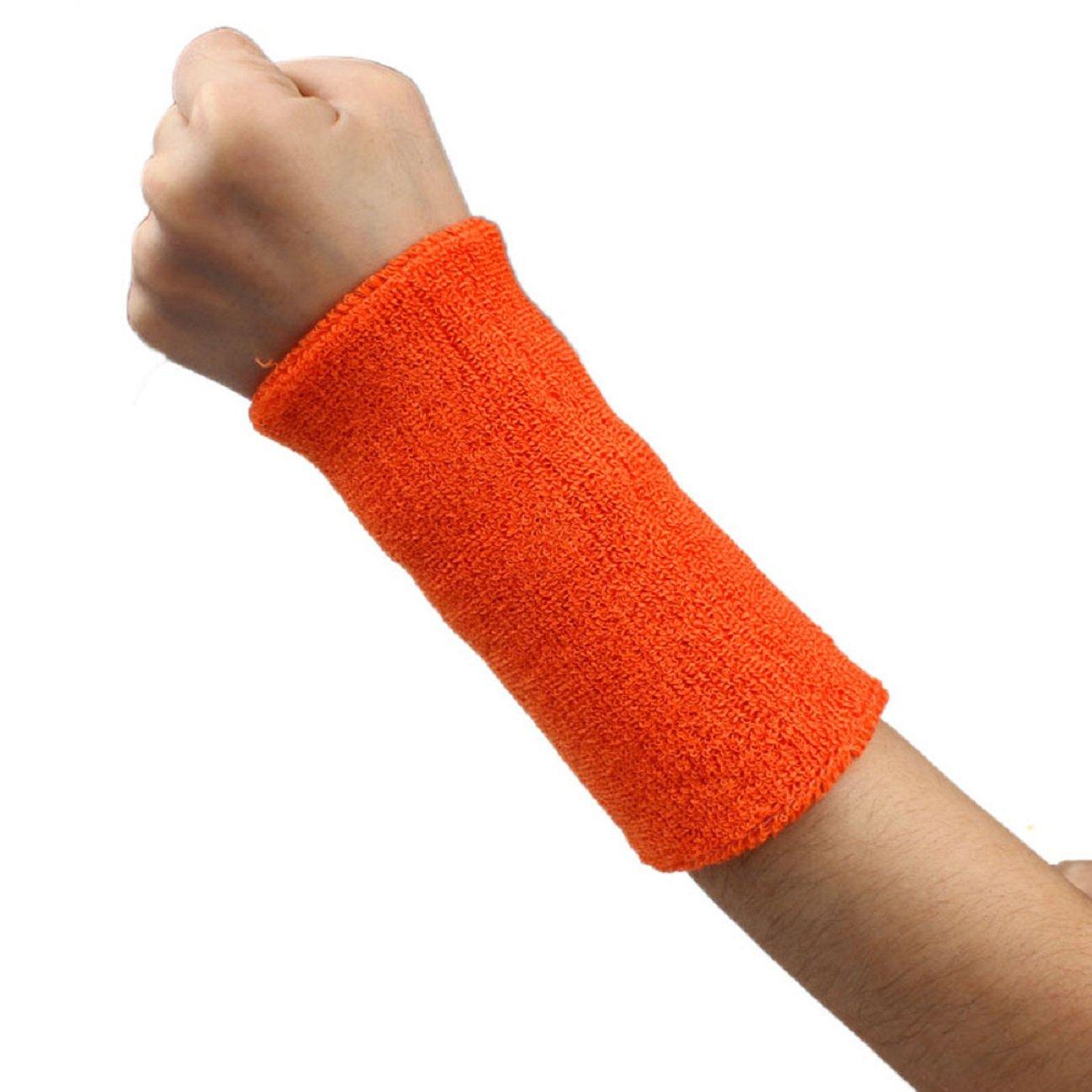 Tonsee 1 PCS Unisex Cotton Basketball Tennis Gym Yoga Sweatband Wristband (Orange)