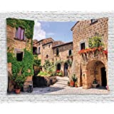 Farm House Decor Tapestry by Ambesonne, Italian Streets in Countryside with Traditional Brick Houses Old Tuscan Prints, Wall Hanging for Bedroom Living Room Dorm, 80WX60L Inches, Multi