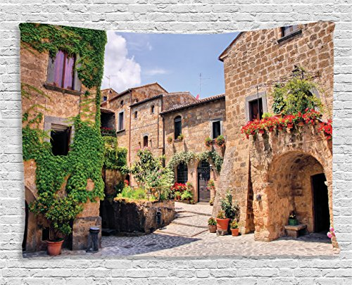Tuscan Bedroom Decor (Ambesonne Farm House Decor Tapestry by, Italian Streets in Countryside with Traditional Brick Houses Old Tuscan Prints, Wall Hanging for Bedroom Living Room Dorm, 60WX40L Inches, Multi)