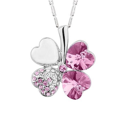 Crystal Jewelery /> Halskette /& Anhänger /'2 Herzen/' Silber /& Violett Glanzsteine