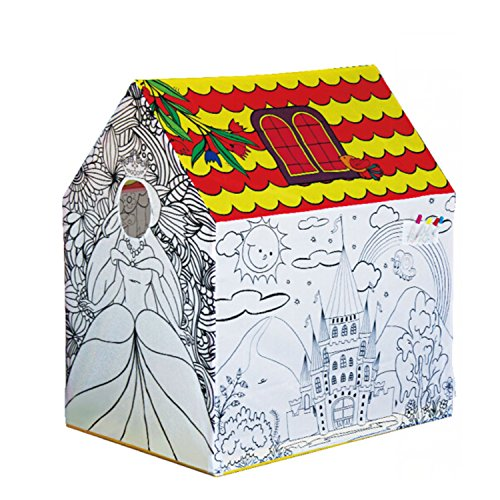 Price comparison product image DIY Creations Play Tent Coloring Princess Castle Creative Drawing Girl Cubby Pop Up Indoor Outdoor House Party