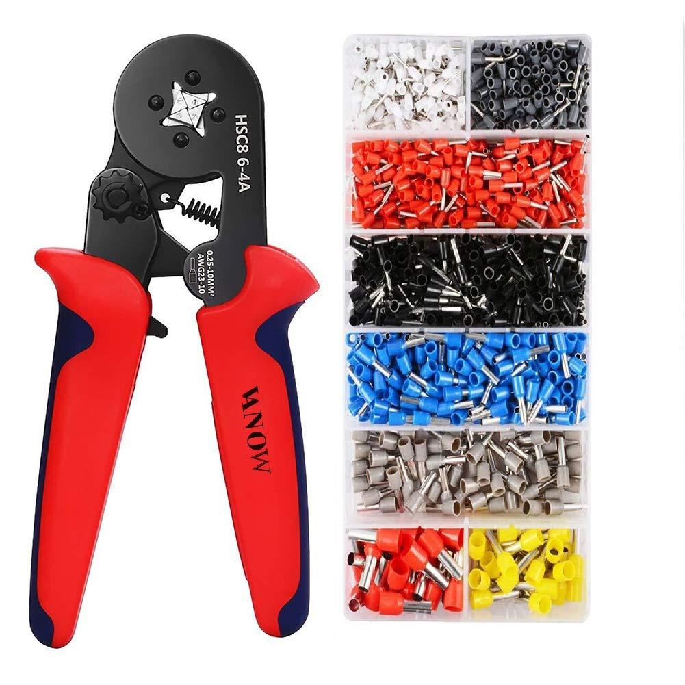 Vanow - Juego de casquillos y herramientas de engarce, alicates engarzadores con herramienta de engarce y terminales de cable, 1200 unidades.