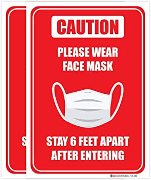 Water Proof and Fade Resistance Indoor /& Outdoor-03 Pack Decals Size 7x10 Inches Window Sticker Self Adhesive Vinyl IGNIXIA Wear Face Mask Sign Face Masks Required Sticker