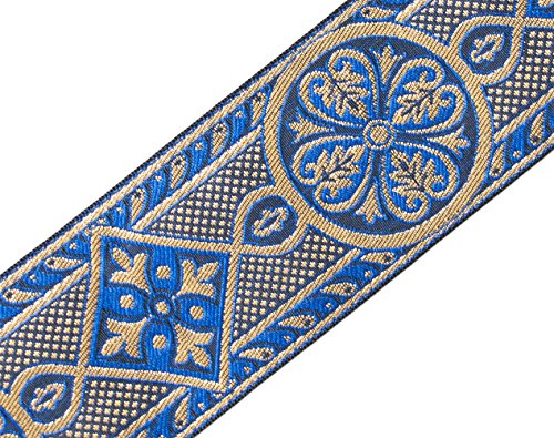 Blue & Gold Jacquard Trim Vestment Medieval Style for Chasuble 2 3/8