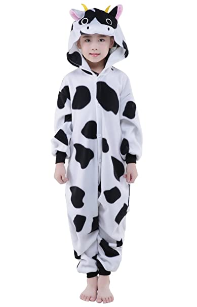 NEWCOSPLAY Children s Animal Cow Pajama Onesie Halloween Costume Pockets  (8 804a31d13