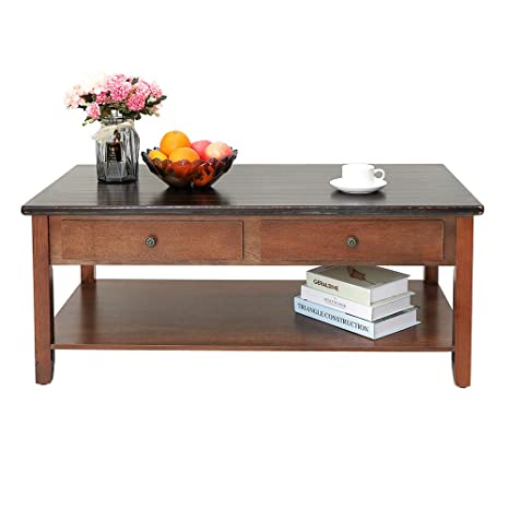 Iwell Coffee Table With 2 Drawers And Storage Shelf For Living Room Cocktail Table Made Of Solid Wood Easy Assembly Stable And Sturdy