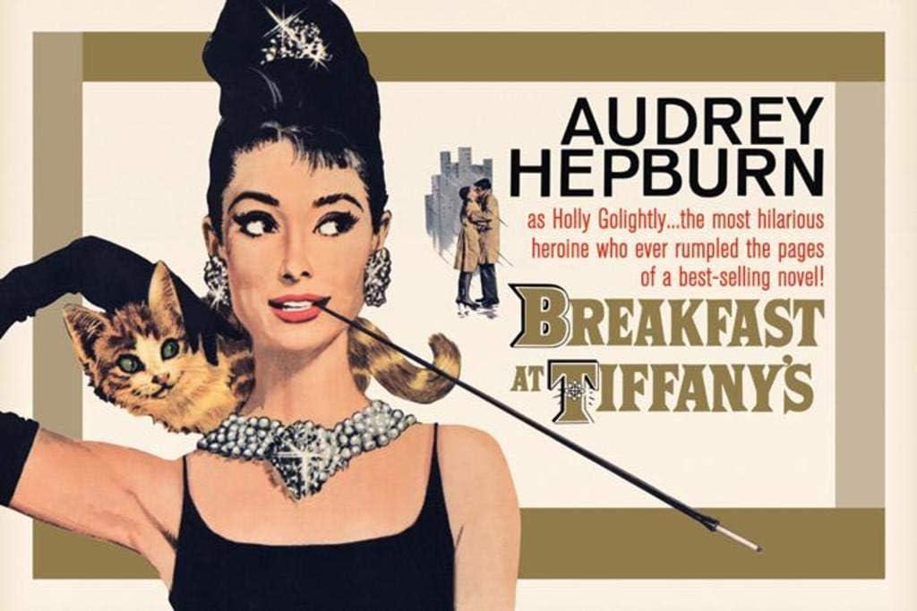 Breakfast at Tiffanys Audrey Hepburn Holly Golightly Romantic Comedy Movie Film Gold Cool Wall Decor Art Print Poster 36x24