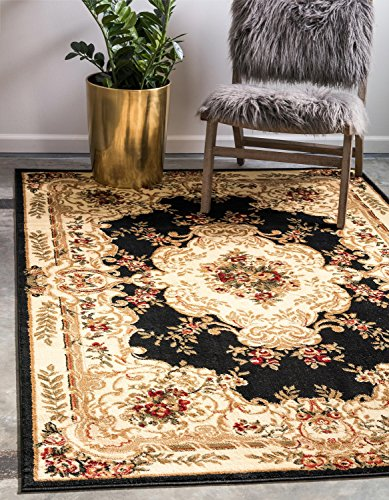 - Unique Loom Versailles Collection Traditional Classic Black Area Rug (10' x 13')