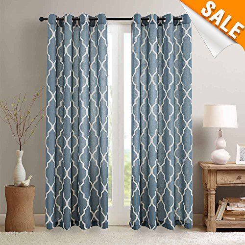 Moroccan Pattern Linen Drapes Grommet Top, Room Dimming Flax Linen Blend Textured Ironwork Printed Window Covering for Living Room (50 Width x 84 Length, Blue, Set of 2 ) (Flax Color)