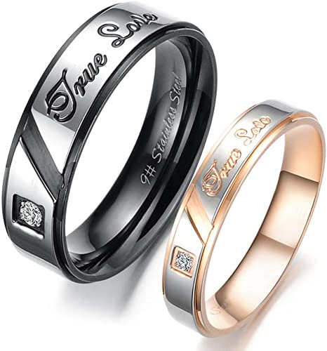 Stainless Steel Black Enamel w Cubic Zirconia Promise Ring Couples Wedding Band