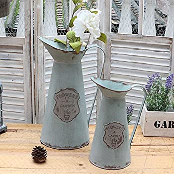 APSOONSELL Metal Flower Vase Decorative Tin Water Pitcher Style Rustic Garden Decor / S