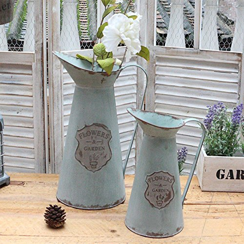 Halloween Decor With Milk Jugs (APSOONSELL Metal Flower Vase Decorative Tin Water Pitcher Style Rustic Garden Decor / S)