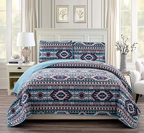 Rustic Western Southwestern Native American Quilt Set in Beige Taupe Brown Turquoise and Navy Blue Colors - Bedspread Set San Antonio (Full/Queen) (Western Bed)
