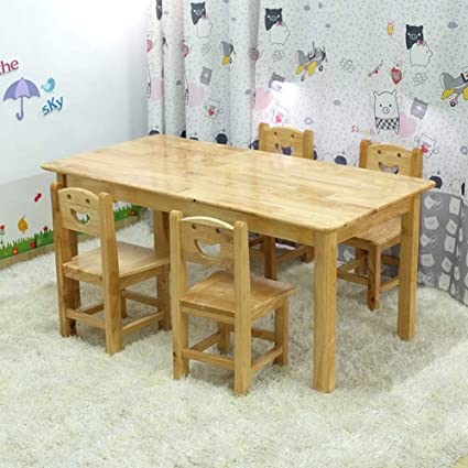 Pleasing Amazon Com Zh Wooden Kids Table And Chair Set 2 8 Years Download Free Architecture Designs Terchretrmadebymaigaardcom
