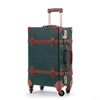 Unitravel Vintage Carry on Suitcase 20 inch Retro PU Trunk Rolling Spinner Luggage